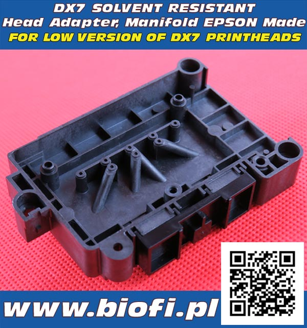 Adapter, Kapturek do Głowicy DX7 - Wersja Solwentowa, Solvent Resistant Head Adapter, Manifold EPSON DX7 Printheads