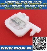 Damper MUTOH TYPE - SIZE = SMALL, FILTER = BIG, CONNECTOR = BIG, INFLOW=SQUARE, Solvent Resistant