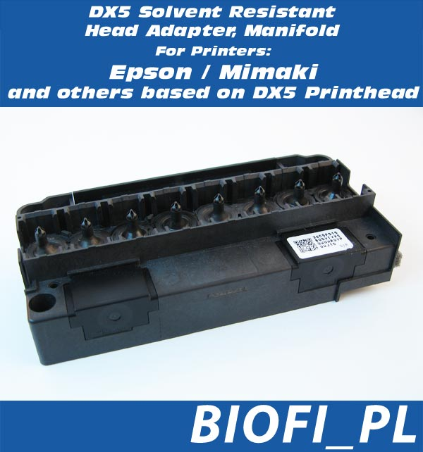 DX5 Solvent Resistant Head Adapter, Manifold Epson, Mimaki Base