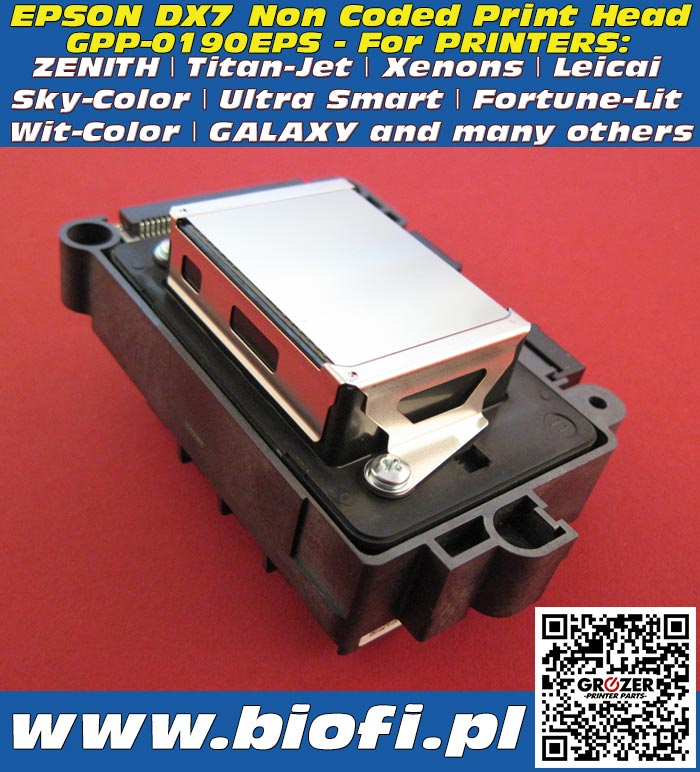 Głowica Drukująca EPSON DX7 PRINT HEAD GROZER PRINTER PARTS: GPP-0190EPS PrintHead for Printers: Titan-Jet, Xenons, Leicai, Sky-Color, Ultra Smart, Fortune-Lit, Wit-Color, GALAXY